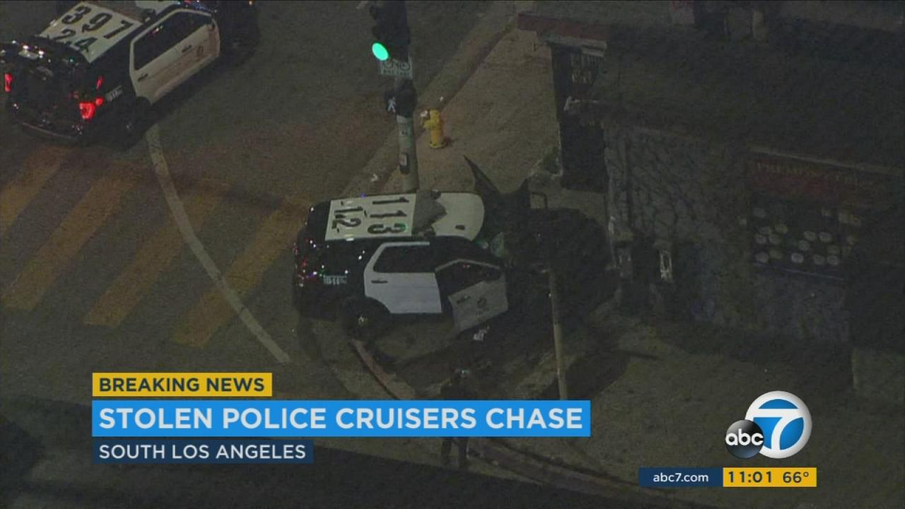 2 suspects arrested for stealing 2 LAPD vehicles, causing chases, crashes