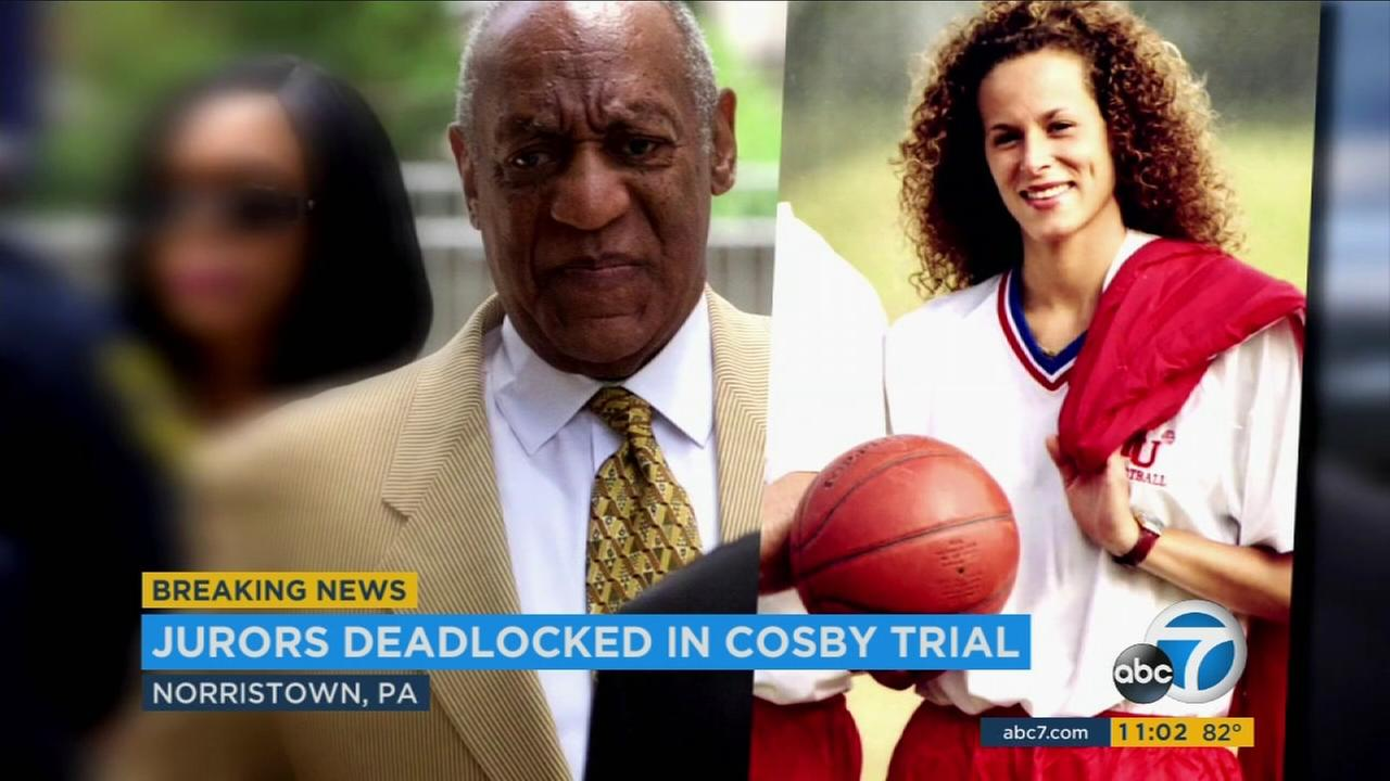An undated file photo of Bill Cosby next to a woman accusing him of sexual assault during an ongoing investigation and trial.