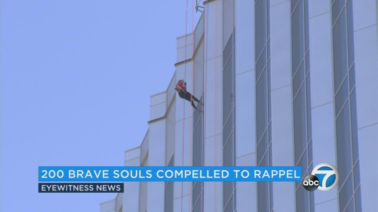 What would compel hundreds of people to jump off a 16-story building in Orange County? Well, if you answered, theyre crazy, you got it wrong. Its for charity.