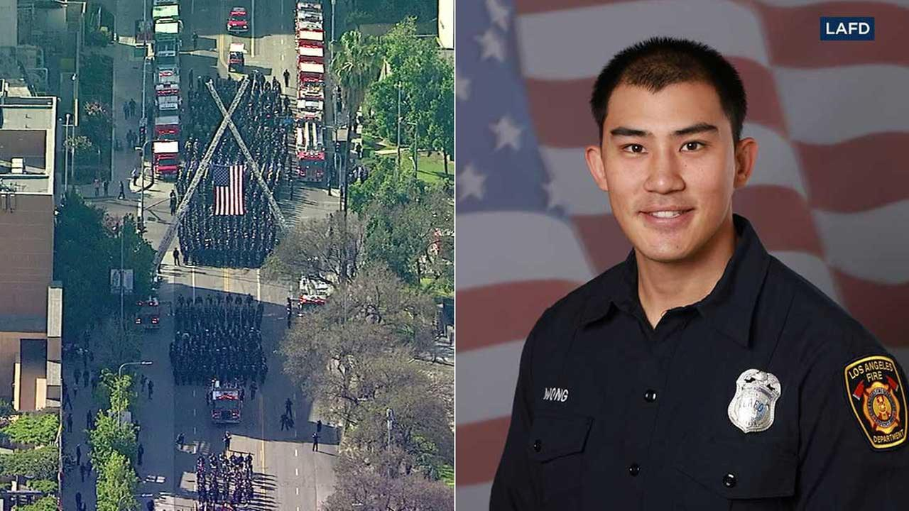 Firefighter Kelly Wong, right, was honored at a procession and funeral in Los Angeles on Friday, June 16, 2017.