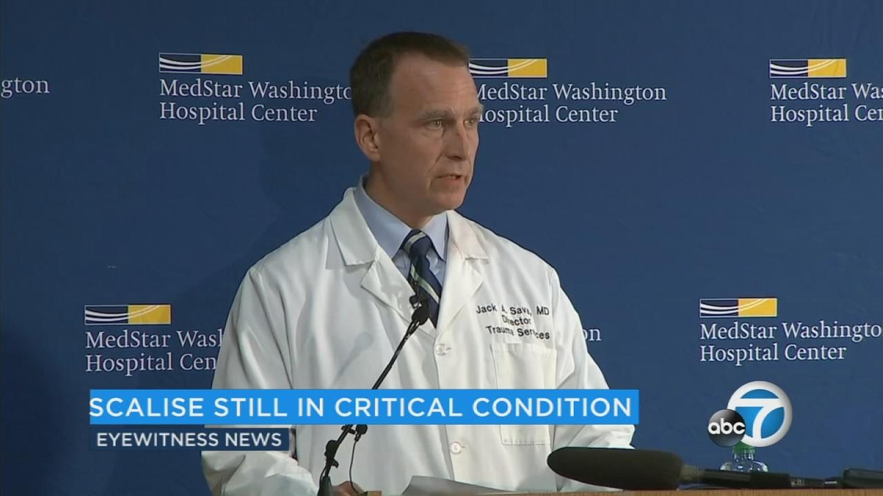 Doctors say Rep. Steve Scalise remains in critical condition Friday at a Washington hospital but is improving.