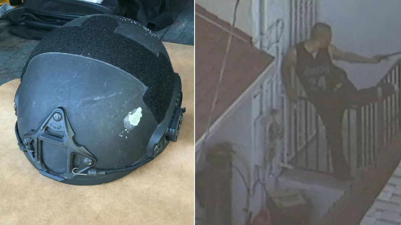 The SWAT officers helmet and the armed suspect are shown in photos.