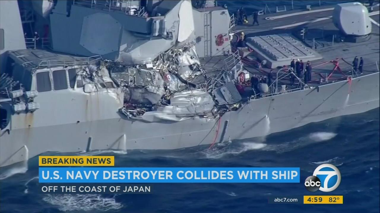 7 US Navy members unaccounted for after collision off Japan's coast