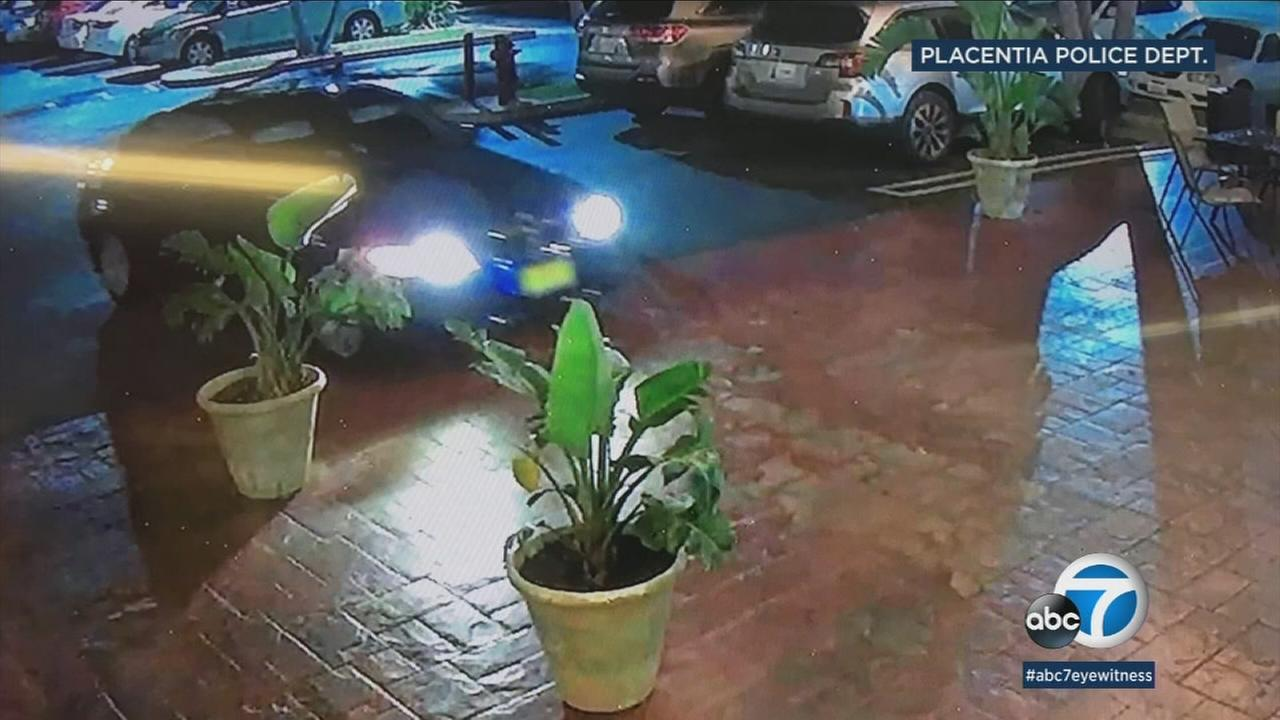 Robbery and beating suspects fled in the vehicle pictured above from a Placentia hotel.