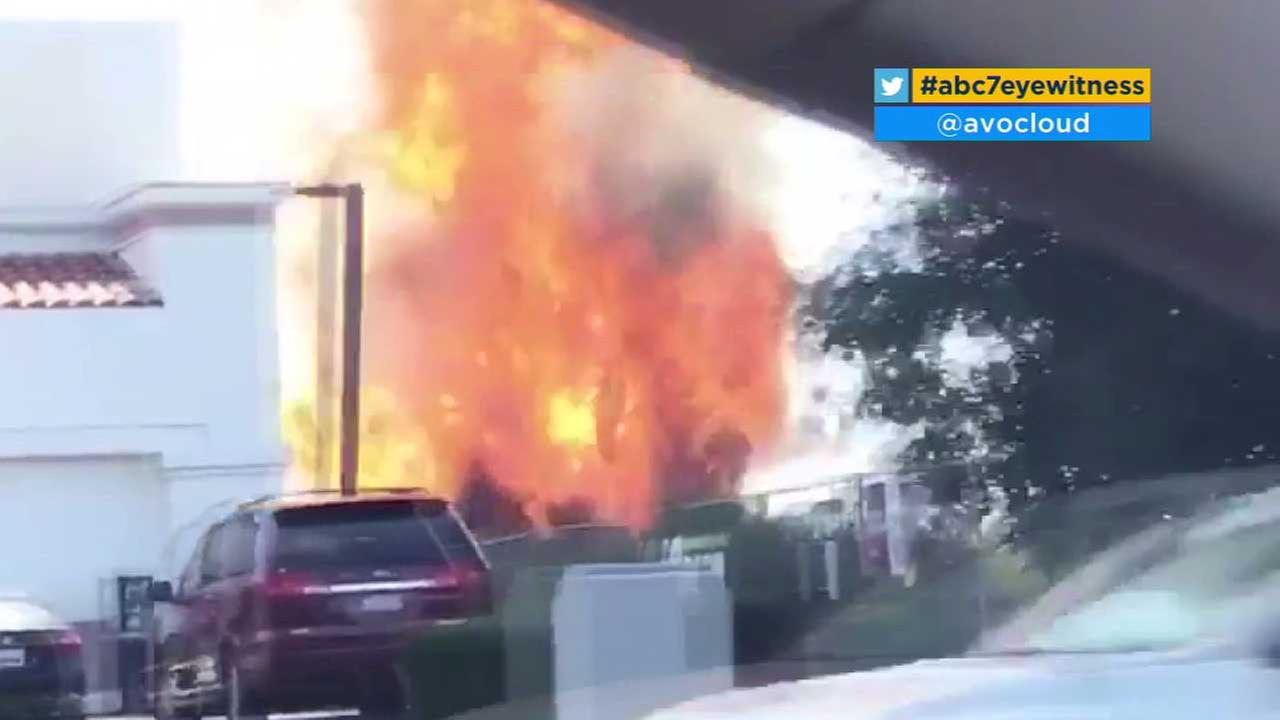 Flames shoot into the air near a gas station in Granada Hills on Tuesday, June 20, 2017. (Credit: twitter.com/avocloud)
