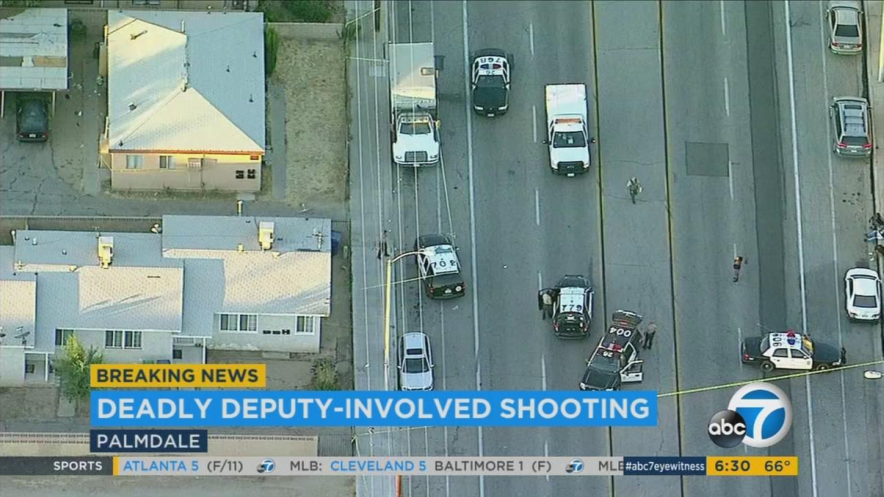 A 17-year-old boy and a dog were fatally shot by deputies Thursday, June 22, 2017, after the pit bull attacked a deputy in Palmdale, authorities said.