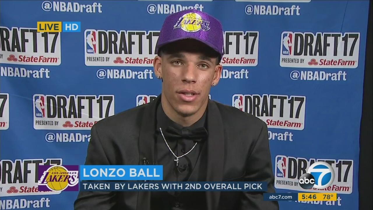 Lonzo Ball spoke to Eyewitness News shortly after he was drafted by the Los Angeles Lakers with the No. 2 pick.