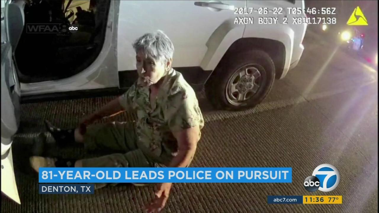 An 81-year-old grandmother is shown in video after leading police on a bizarre slow-speed chase in Texas.