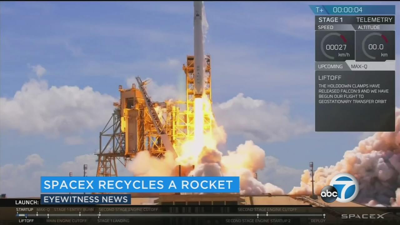 The Hawthorne-based company sent a commercial communications satellite into orbit and has again recovered the rocket carrying it.
