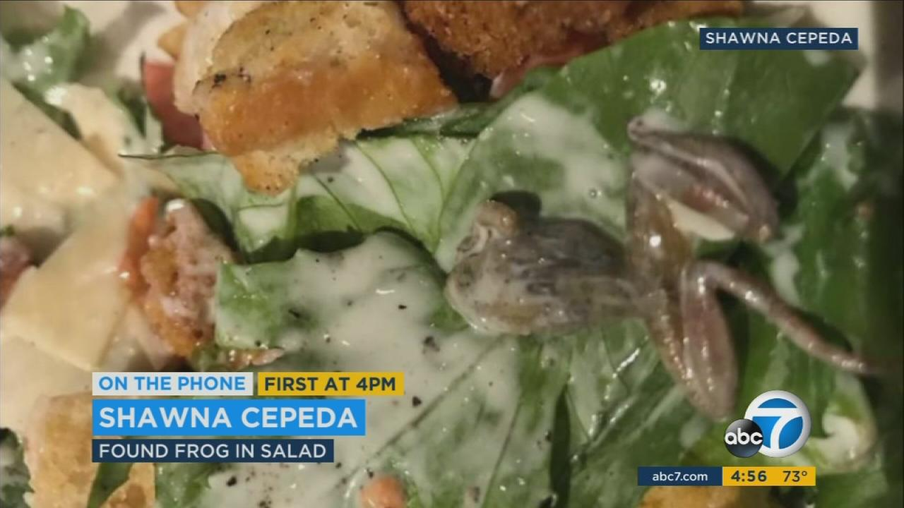 A San Dimas woman found a frog in her house salad at BJs in West Covina.