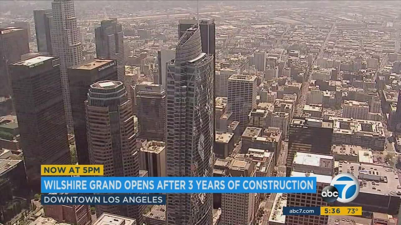 The ribbon was cut Friday on the tallest building west of the Mississippi - the Wilshire Grand.