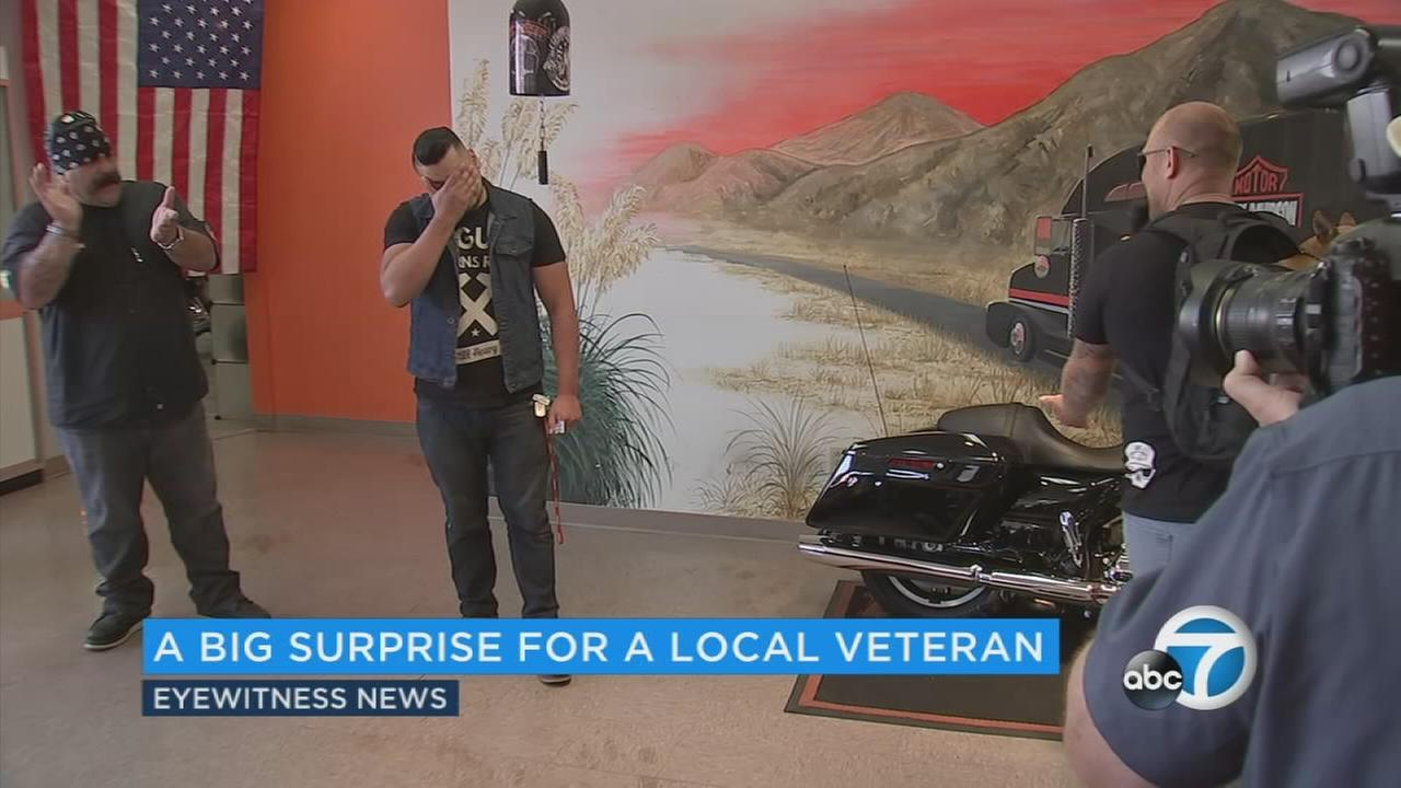 A Marine veteran received a brand new Harley Davidson as part of a thank you project for veterans.