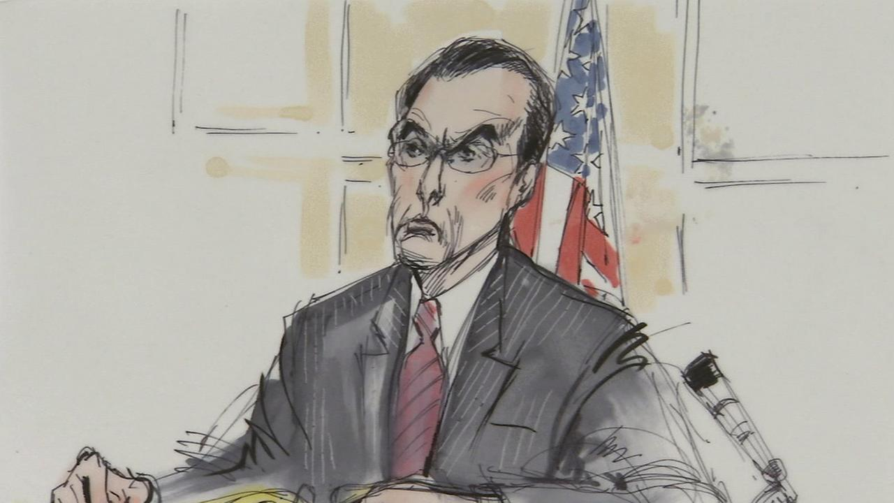 A court drawing of Dr. Jefferey Cummings testifying in the Clippers lawsuit on Wednesday, July 23, 2014.