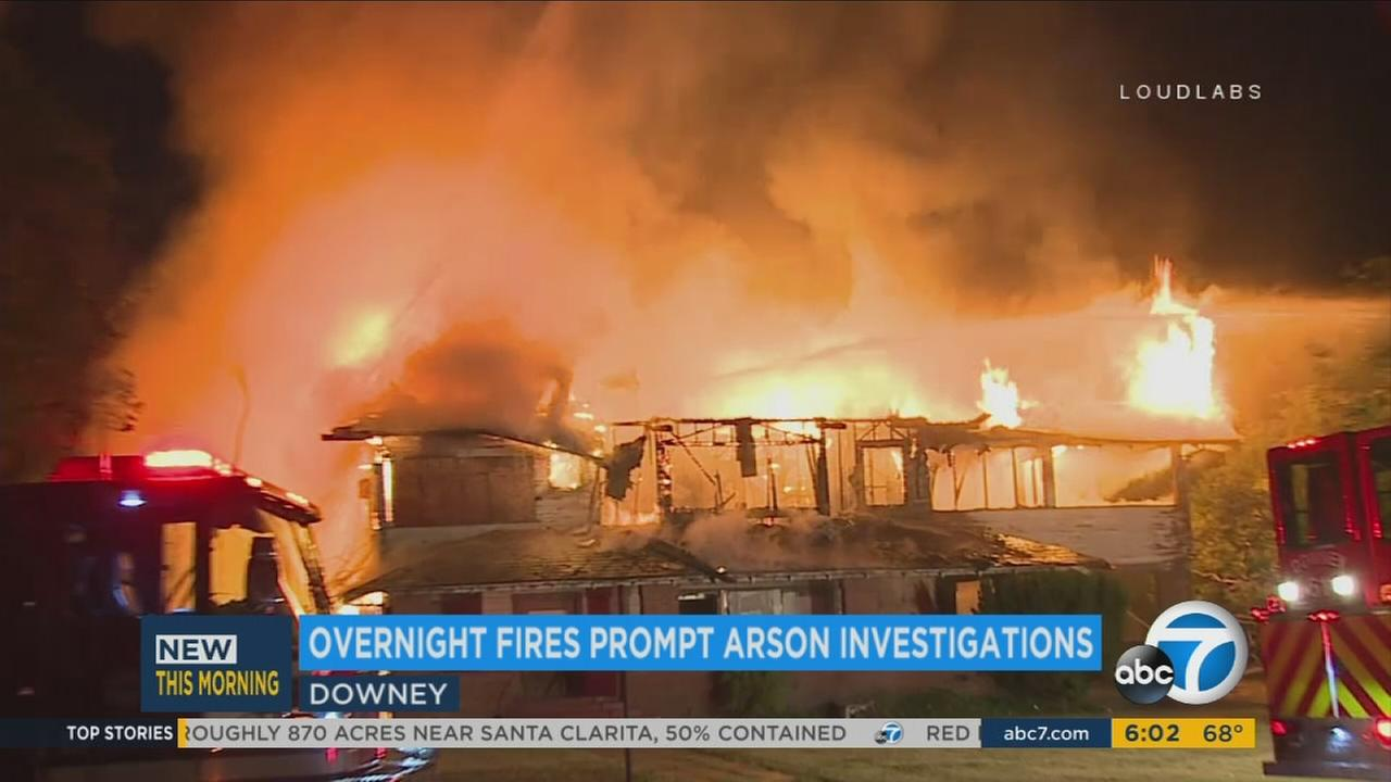 Two structures were engulfed in flames during a fire early Monday morning on a county property in Downey, authorities said.
