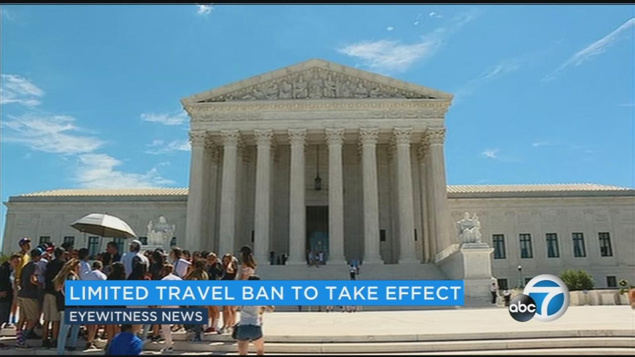 The Supreme Court is letting the Trump administration enforce its 90-day ban on travelers from six mostly Muslim countries, overturning lower court orders that blocked it.