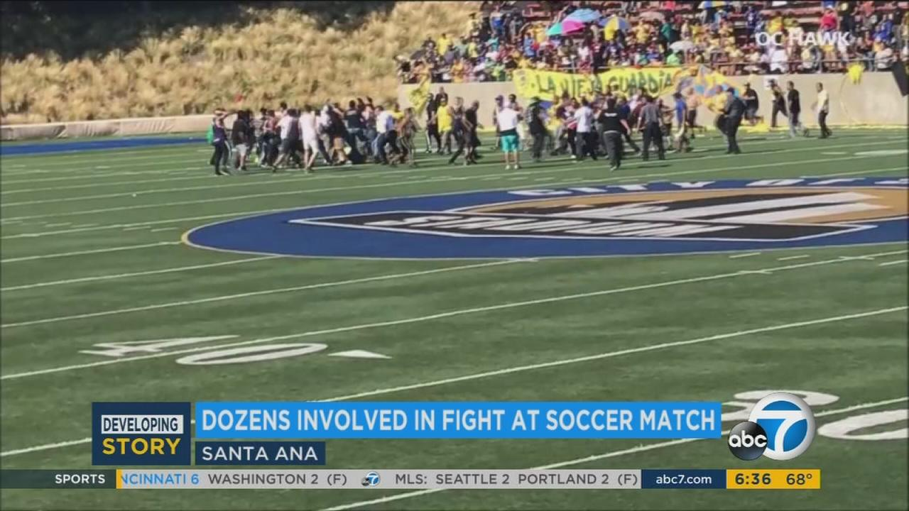 Police arrested five people on suspicion of assault or assault with a deadly weapon after a fight broke out at a soccer match at Eddie West Field in Santa Ana.