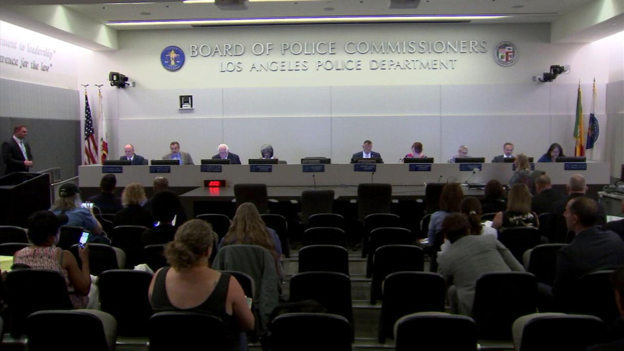 The Los Angeles Police Department and commissioners hold a meeting on Tuesday, June 27, 2017.