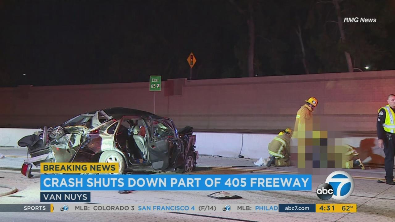 Several people were injured Wednesday, June 28, 2017, in a multi-vehicle crash that initially prompted the complete shutdown of the 405 Freeway in Van Nuys.