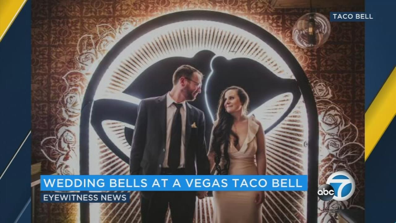 Its all part of a new $600 wedding package at a Taco Bell on the Vegas Strip.