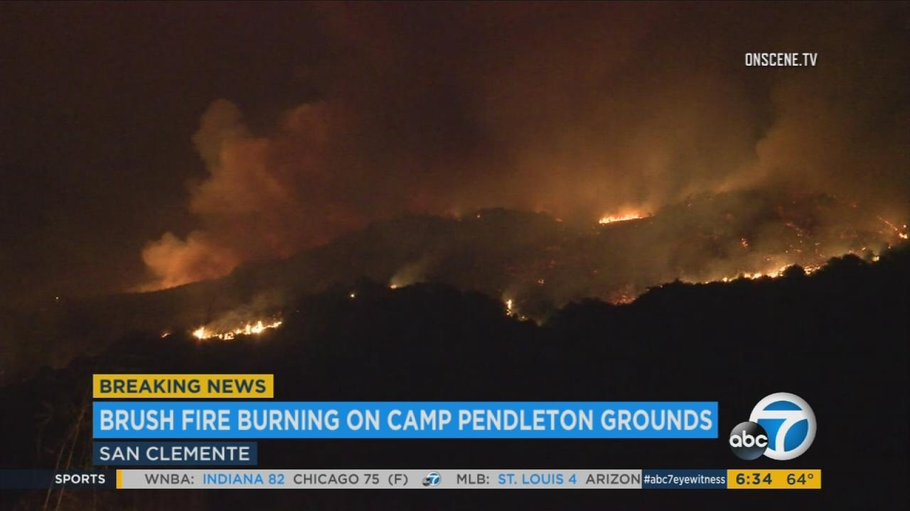 A brush fire at Camp Pendleton has spread to more than 700 acres and was 10 percent contained Thursday, June 29, 2017.