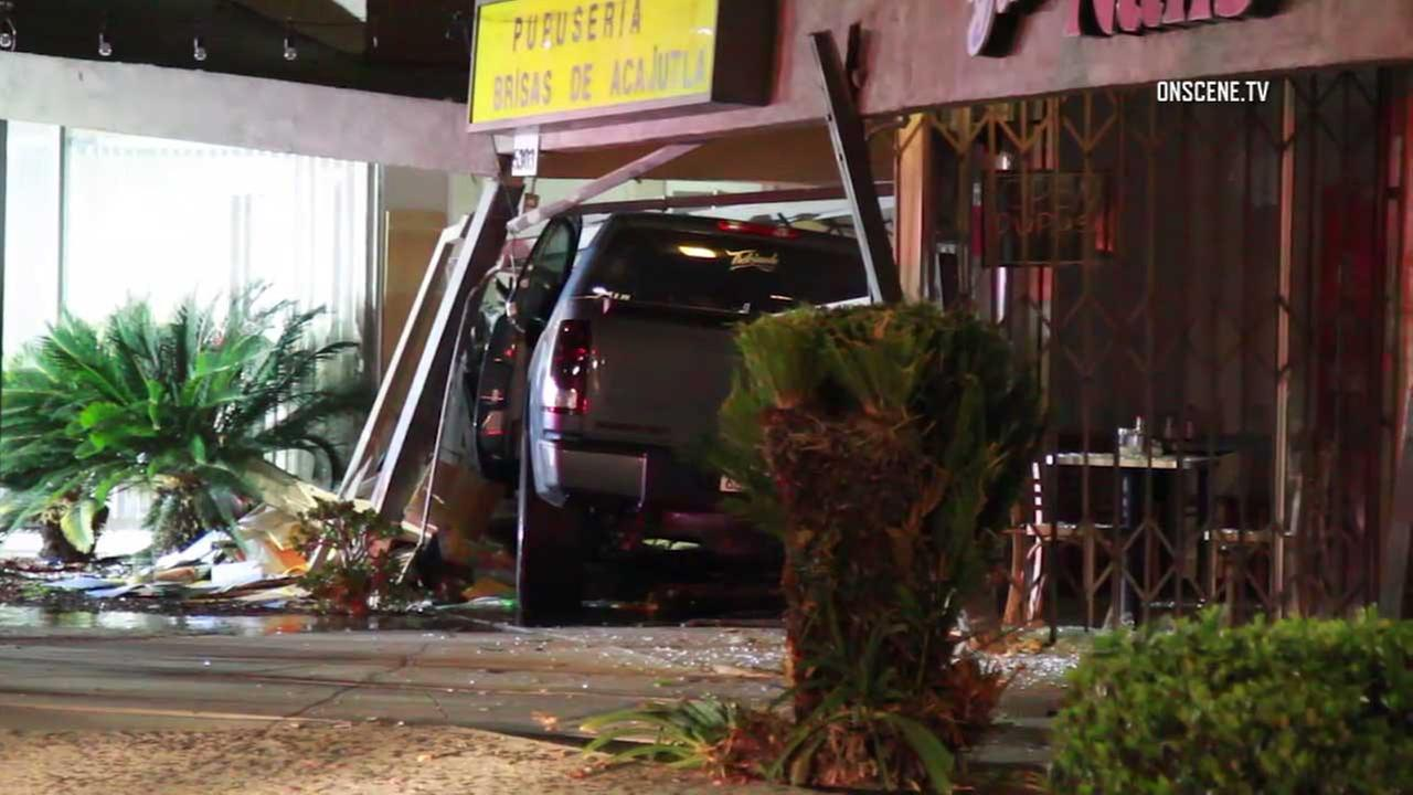A car crashed into a Long Beach business on Friday, June 30, 2017.