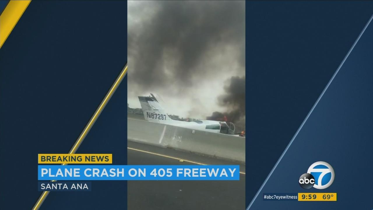 A wrecked aircraft is seen on the 405 Freeway in Orange County on Friday, June 30, 2017.KABC