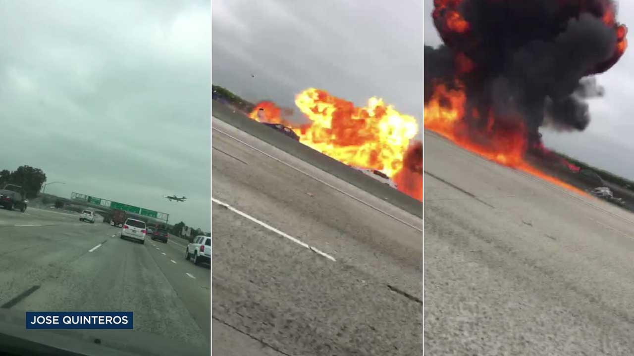 An ABC7 viewer captured the very moment a small airplane crashed on the 405 Freeway in Orange County on Friday.