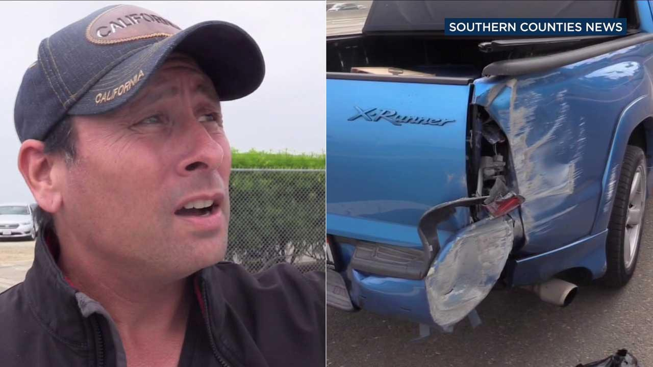 Blackstone Hamilton, an Uber driver, describes the moment when a small plane clipped the back of his pickup truck.