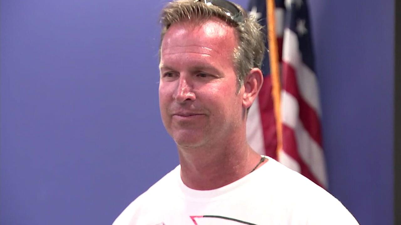 John Meffert, the off-duty Avalon firefighter, is shown speaking about his experience rescuing the victims of a plane crash on the 405 Freeway in Santa Ana.KABC
