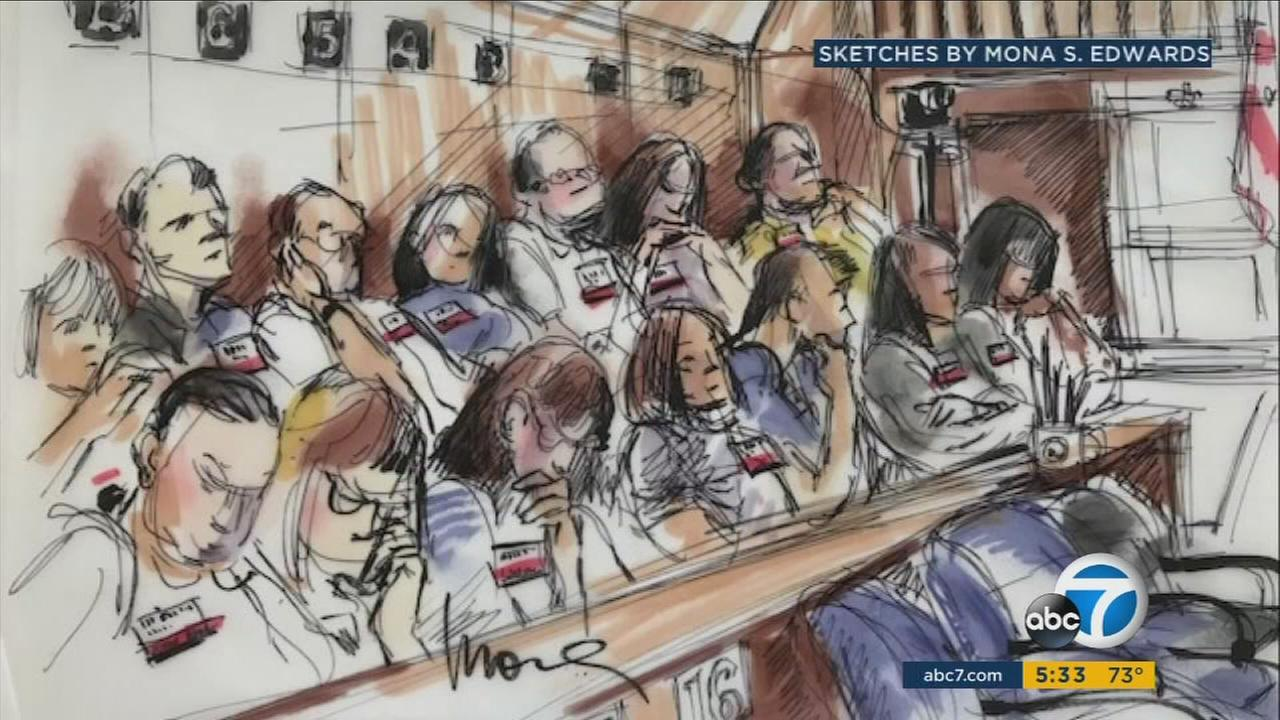 Sketches of the jurors in the trial of a man accused of killing a Fox movie executive are shown during closing arguments on Friday, June 30, 2017.