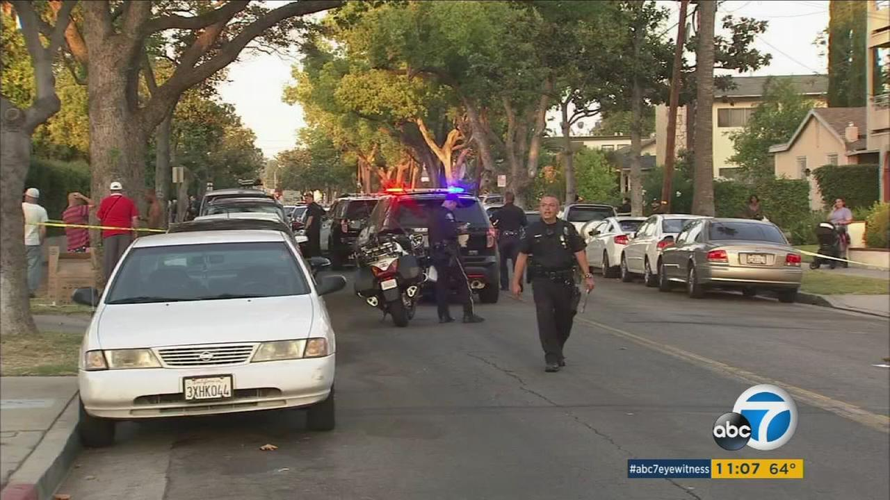 Authorities surround an apartment complex in Glendale after a man was found fatally stabbed in the area on Friday, June 30, 2017.