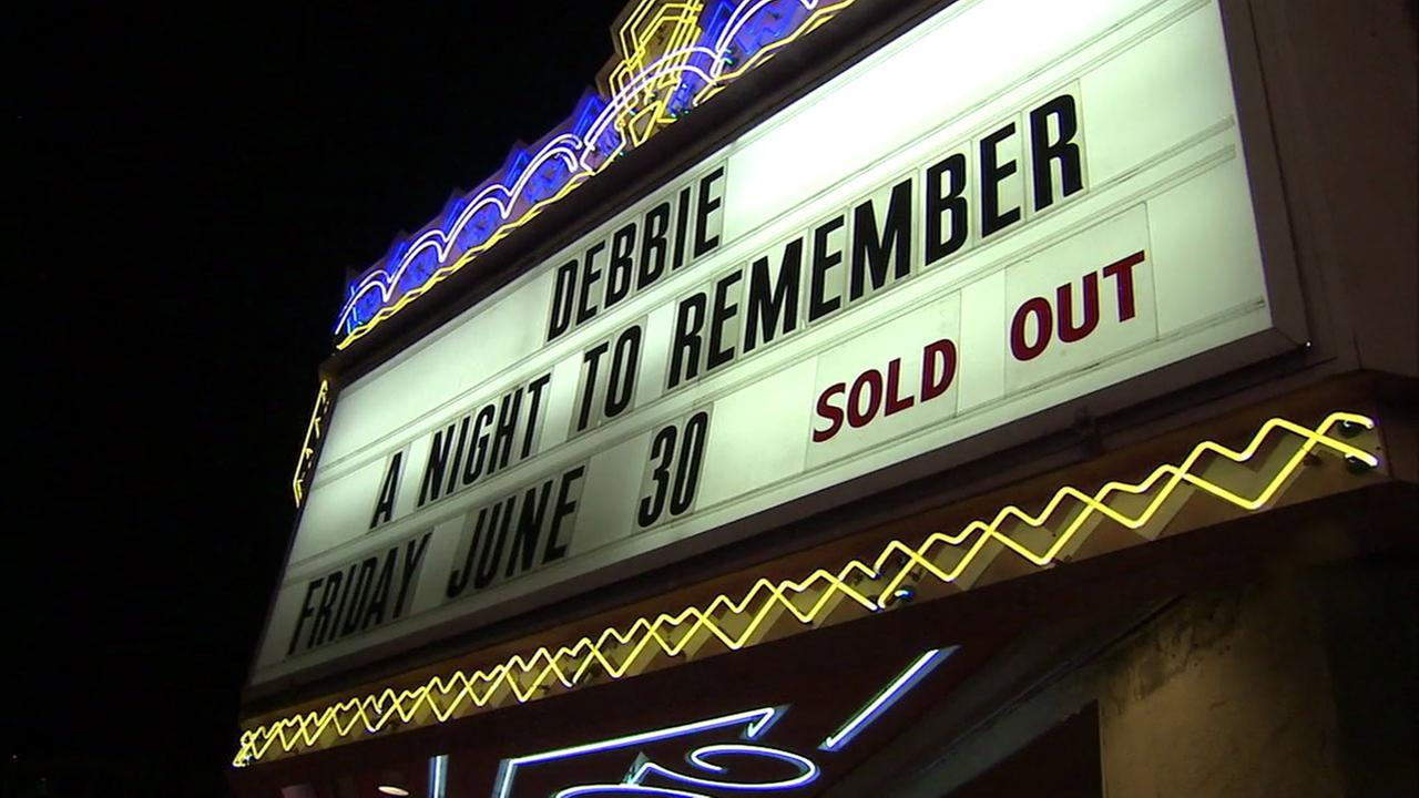 A sign honoring Debbie Reynolds at the El Portal Theatre in North Hollywood is shown on Friday, June 30, 2017.