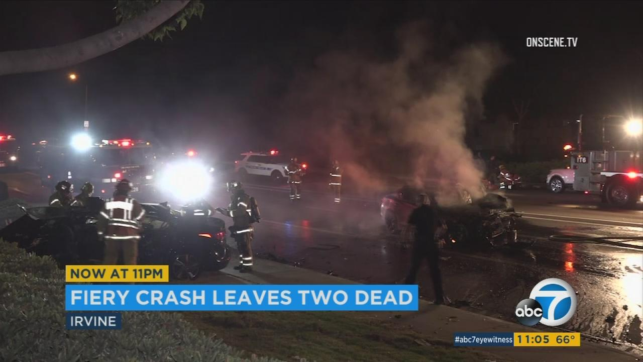 Footage shows the aftermath of a fiery and fatal car crash in Irvine in the early morning hours of Saturday, July 1, 2017.