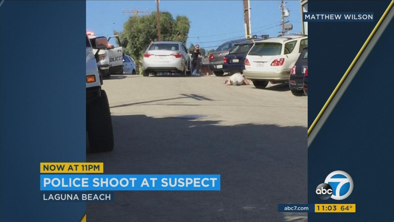 Eyewitness video shows an officer-involved shooting in Laguna Beach.