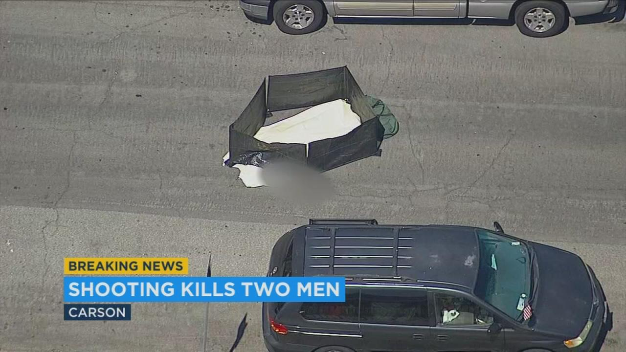 The Los Angeles County Sheriffs Department investigated the shooting deaths of two male adults in Carson on Monday.