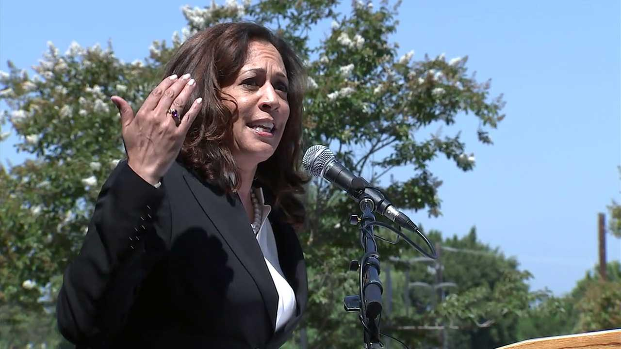 Sen. Kamala Harris speaks at a rally in Torrance on Monday, July 3, 2017.