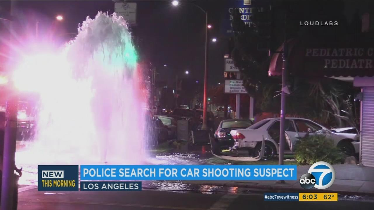 One person shot another after a car crash that knocked down a fire hydrant in Los Angeles.