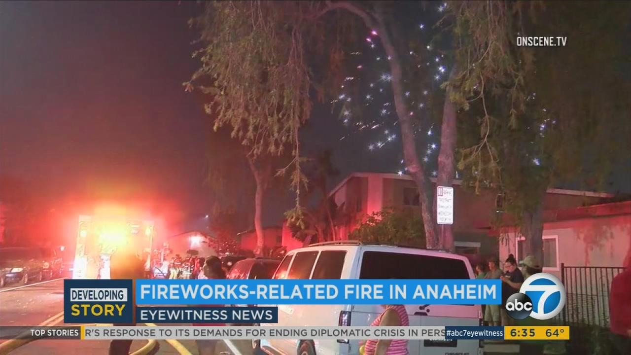 The Anaheim Fire Department claimed illegal fireworks started a fire at a residential building Tuesday night.