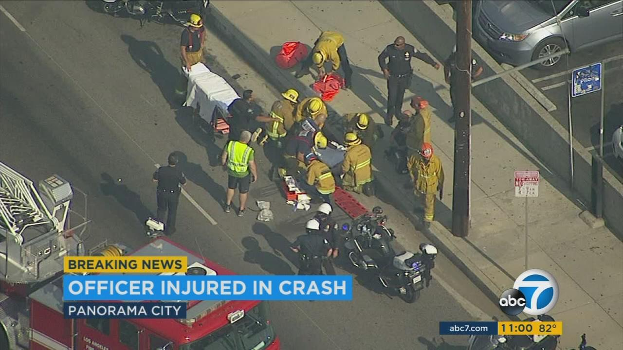 A Los Angeles Police Department motor officer is in serious, but stable condition after a motorcycle collision on Wednesday.