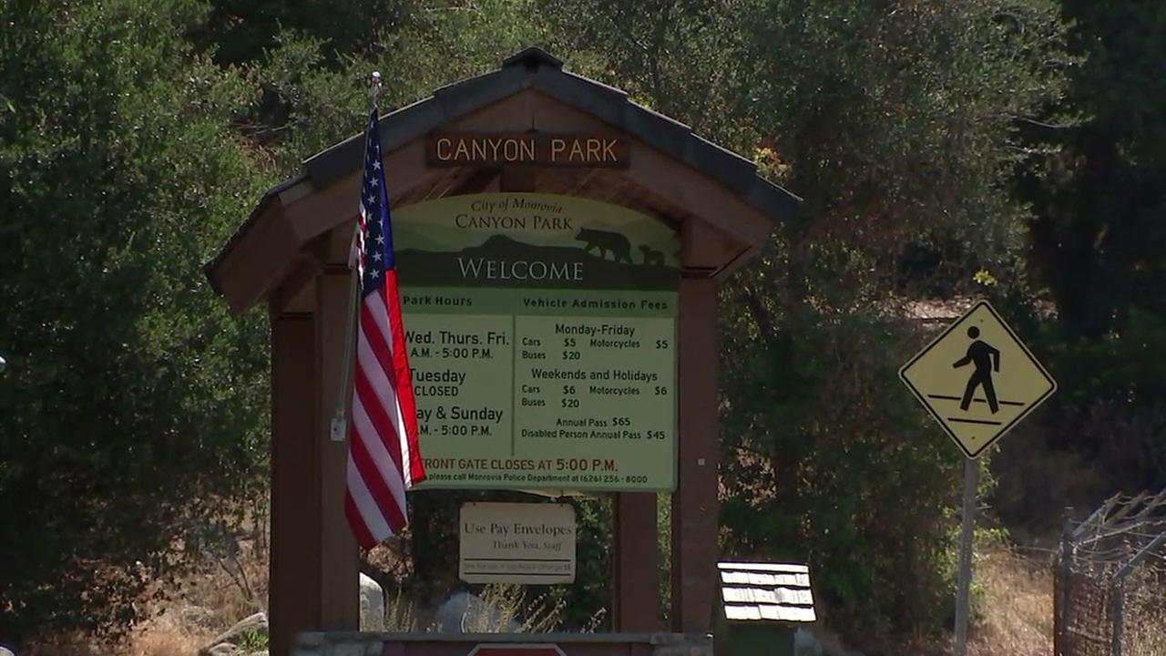 A sign for Canyon Park in Monrovia is shown in an photo taken on Thursday, July 6, 2017.