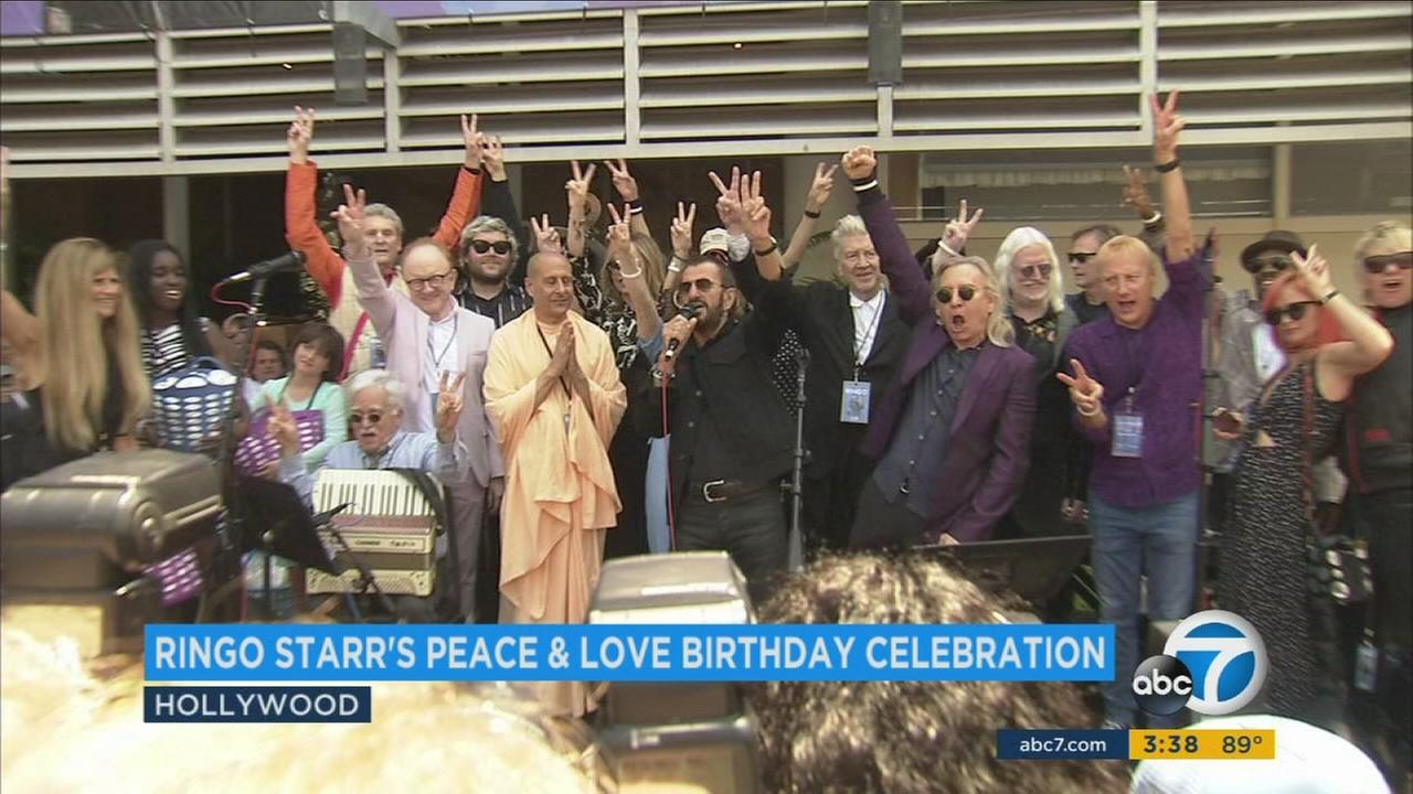 Happy 77th birthday to Ringo Starr!! The Beatle rang in his birthday with his ninth annual Peace and Love celebration in Hollywood on Friday, July 7, 2017.