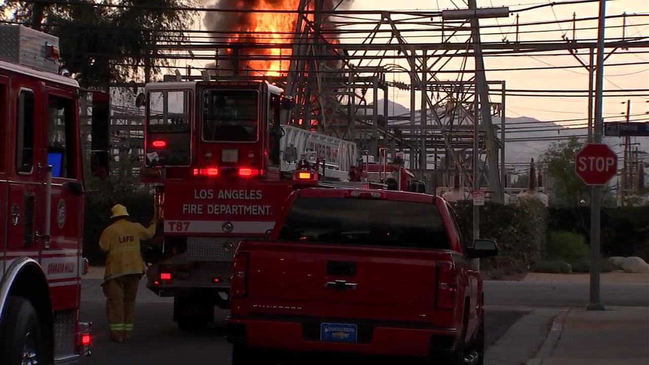 A large fireball is shown at an LADWP facility in Northridge after an explosion and fire erupted, causing a massive power outage on Saturday, July 8, 2017.