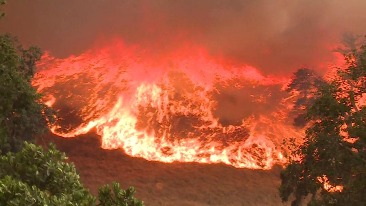 One of several wildfires burning in California on Monday, July 10, 2017.