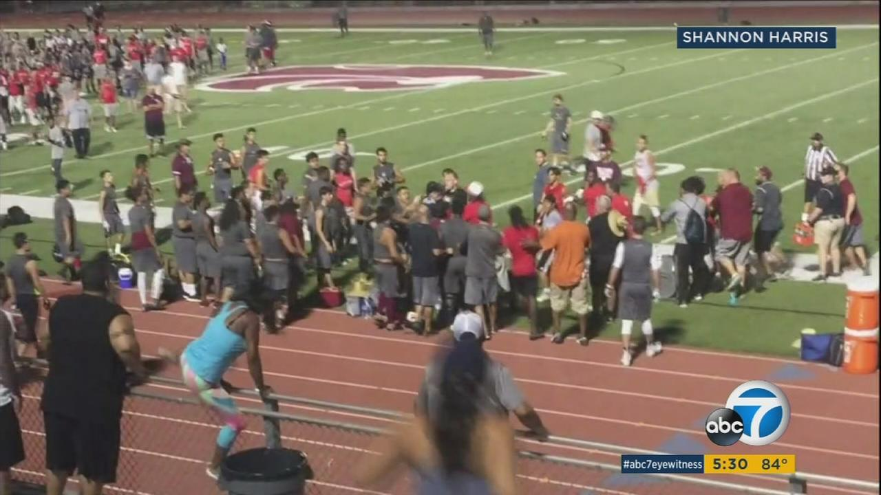 Video shows high school football players and some adults fighting at a tournament in Menifee on Saturday, July 8, 2017.