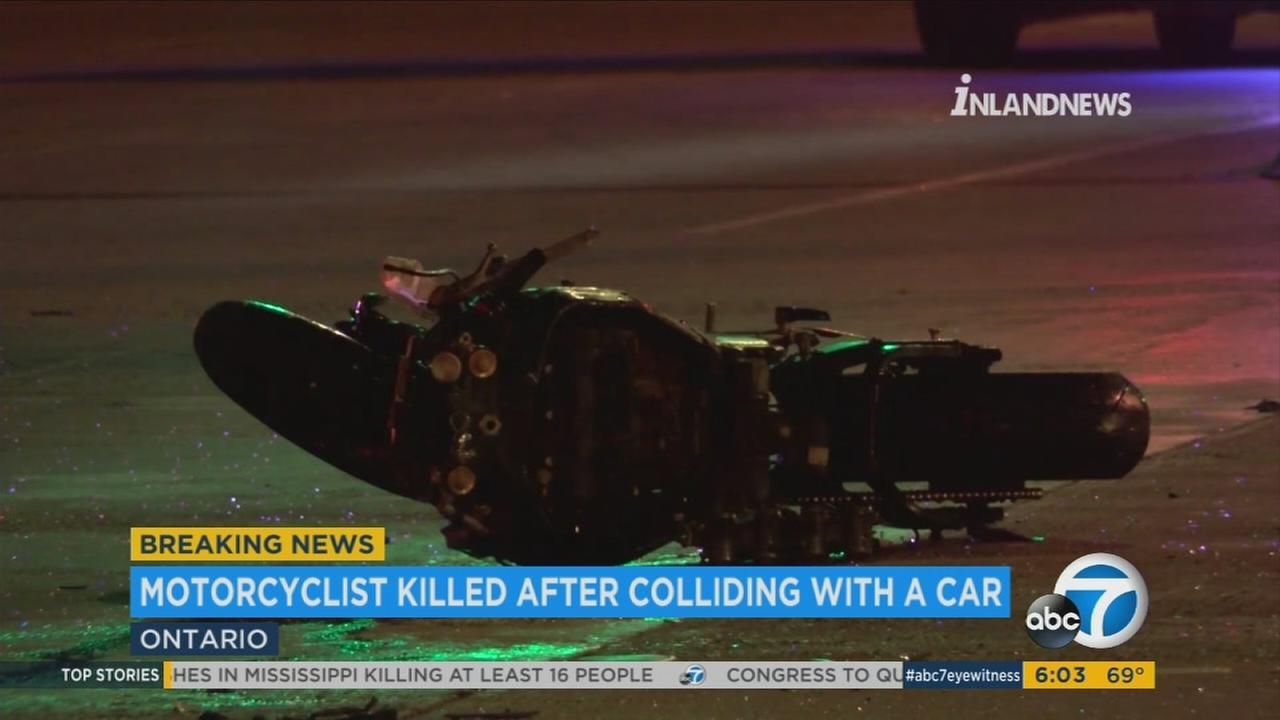 A motorcyclist was killed in a violent collision involving a car early Tuesday morning in Ontario.