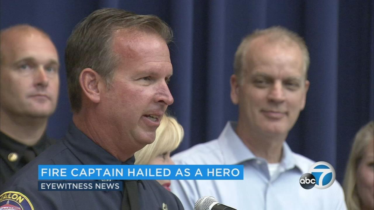 Fire Captain John Meffert is a real-life hero and Tuesday he was honored for his quick thinking in saving two people from a plane that crashed in a fireball on the 405 Freeway June 30.