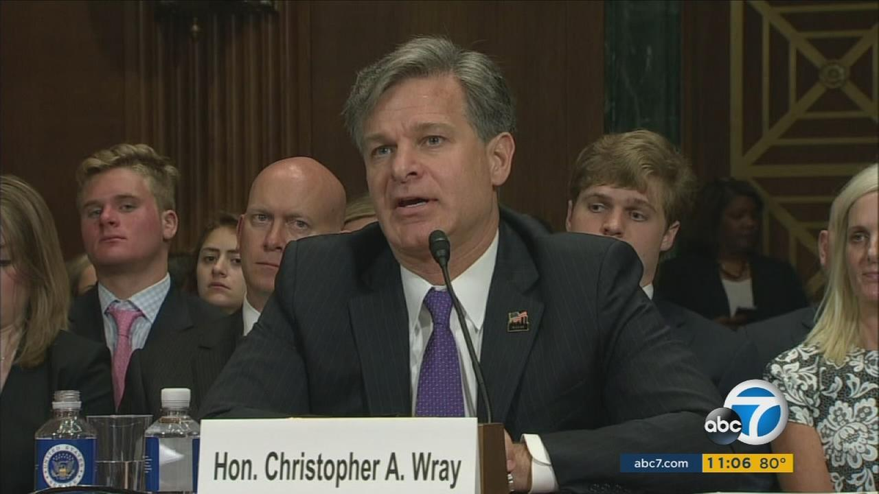 Christopher Wray is speaks to senators at his confirmation hearing on Wednesday, July 12, 2017.