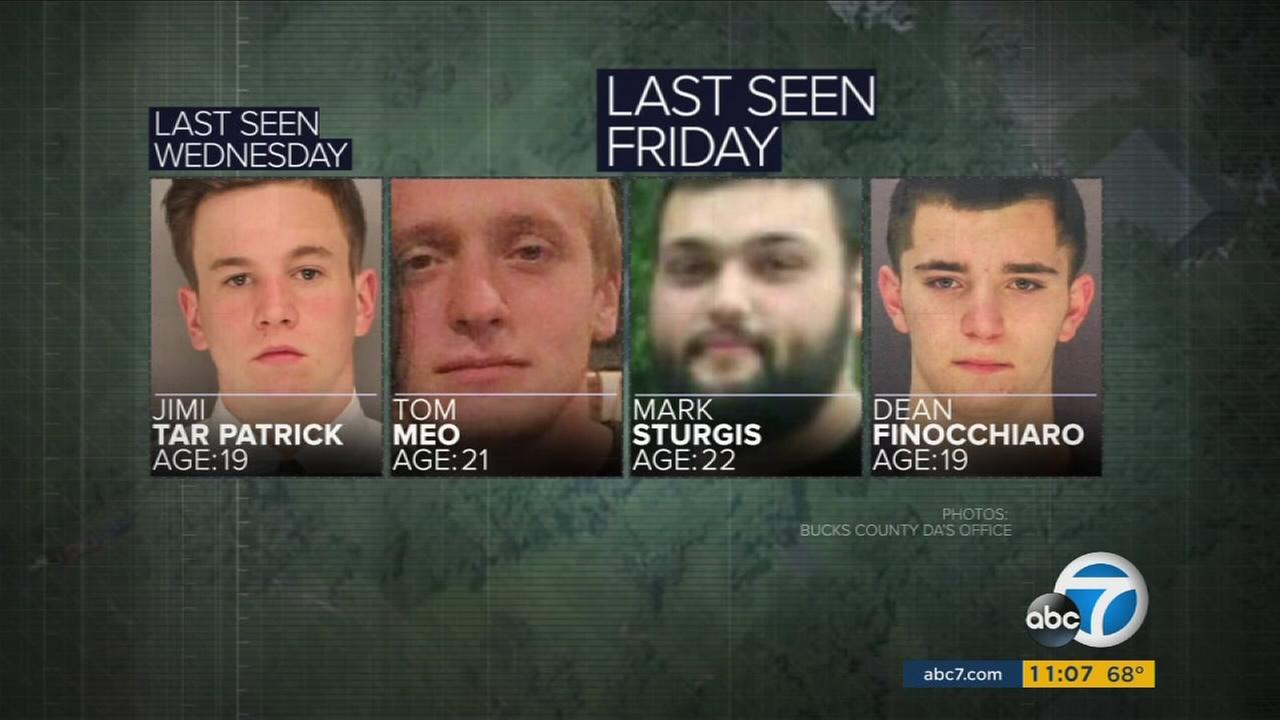 Photos show four men who were reported missing in Pennsylvania.