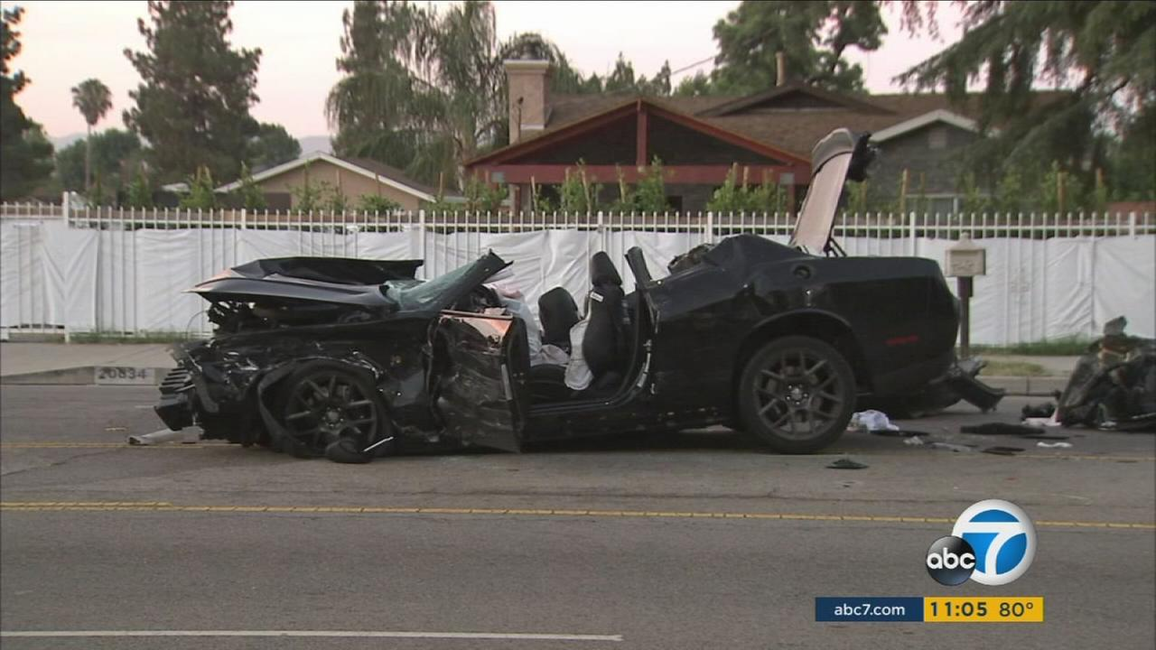 A mangled car involved in a three-car crash in the Winnetka area of Los Angeles on Thursday, July 13 2017.