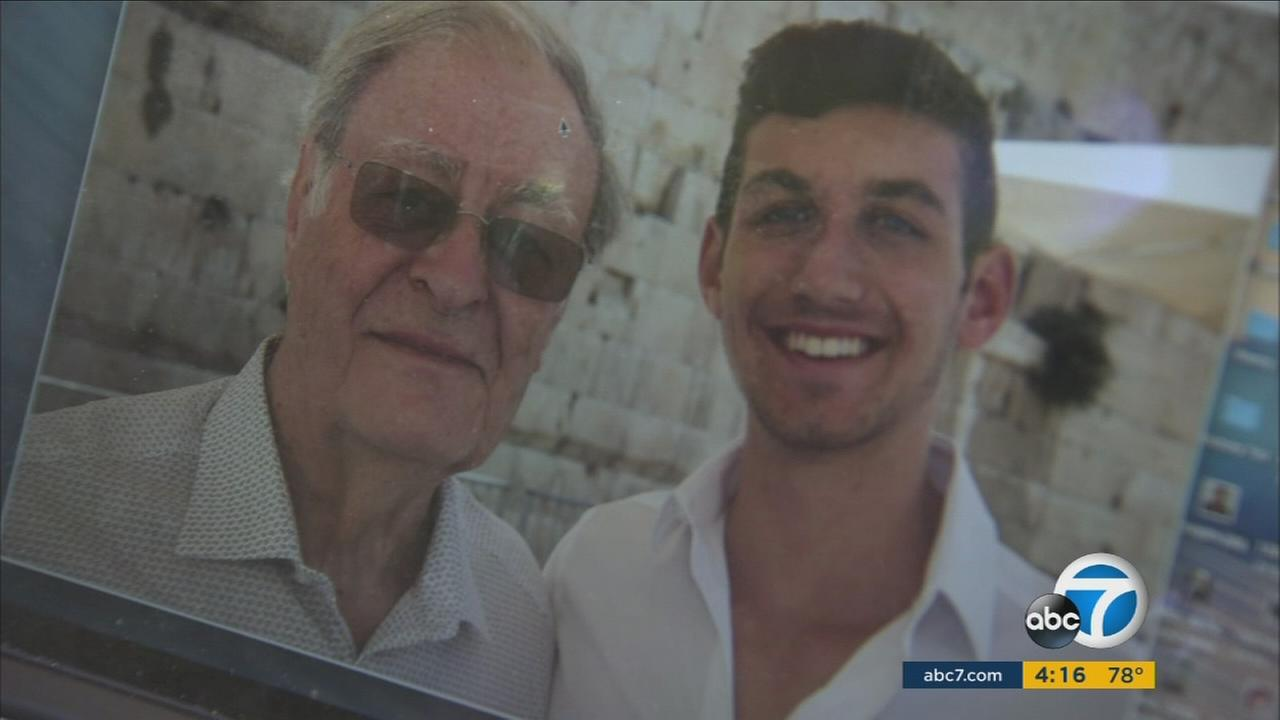 Henry Oster, 89, and Drew Principe, 17, are shown in a photo during their trip to Israel.